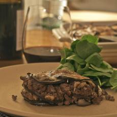 Moussaka eggplant meat tomato sauce olives greek dish